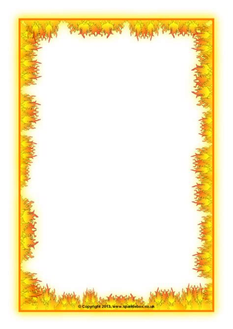 fire themed  page borders sb sparklebox