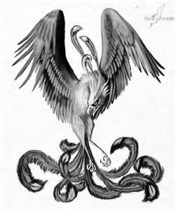 Black and White Phoenix Bird Tattoo