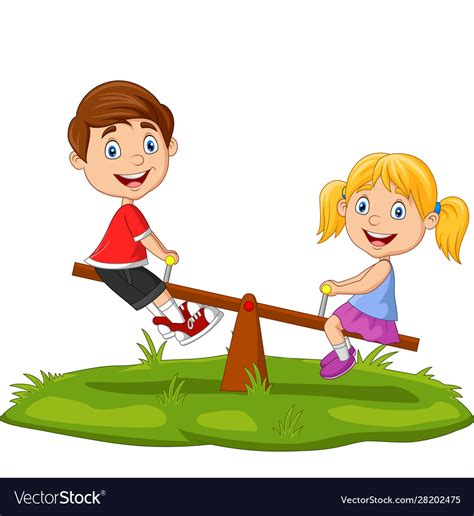 Produce lightweight and clean looking animations or still frames embeddable on a project page. Cartoon kids playing on seesaw in park Royalty Free Vector