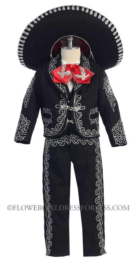 Boys Suit Style MARIACHI- BLACK- SILVER Boys Mariachi Suit with Matching Sombrero $85.00 | Kids ...