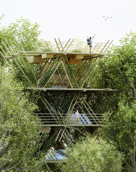penda designs flexible bamboo hotel to connect guests with