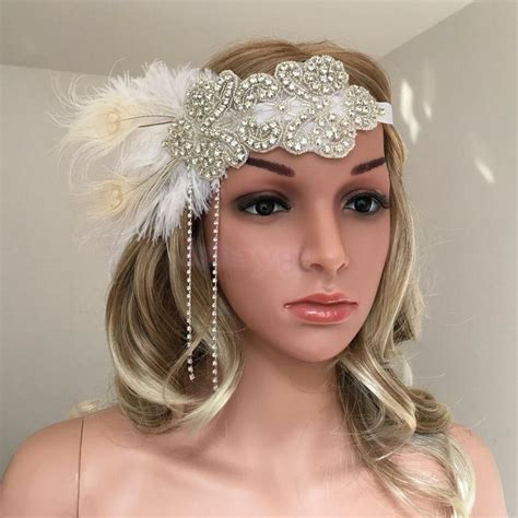 20s Hairstyles With Headband by S Roaring 20s Feather Headband 1920s Headpiece Hair