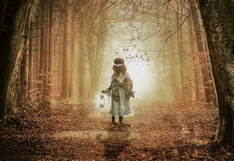wallpaper girl child  autumn leaves angel wings
