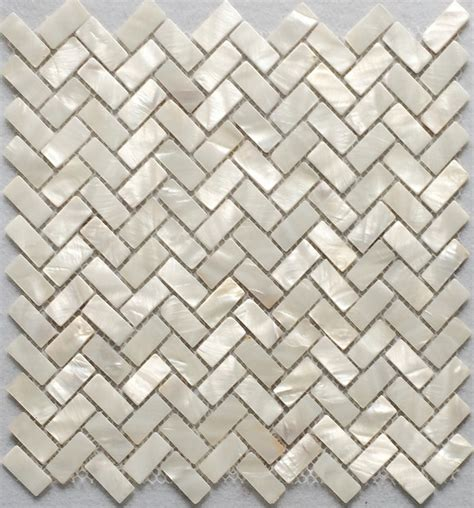 white herringbone of pearl tile herringbone shell
