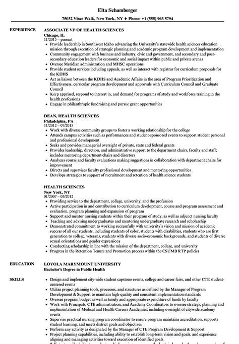 Health Resume by Health Sciences Resume Sles Velvet