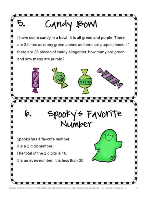 Hard Halloween Brain Teasers by Halloween Activities Halloween Math Games Puzzles And