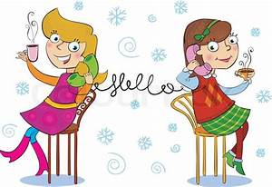 Two cartoon girls talking telephone ... | Stock Vector ...