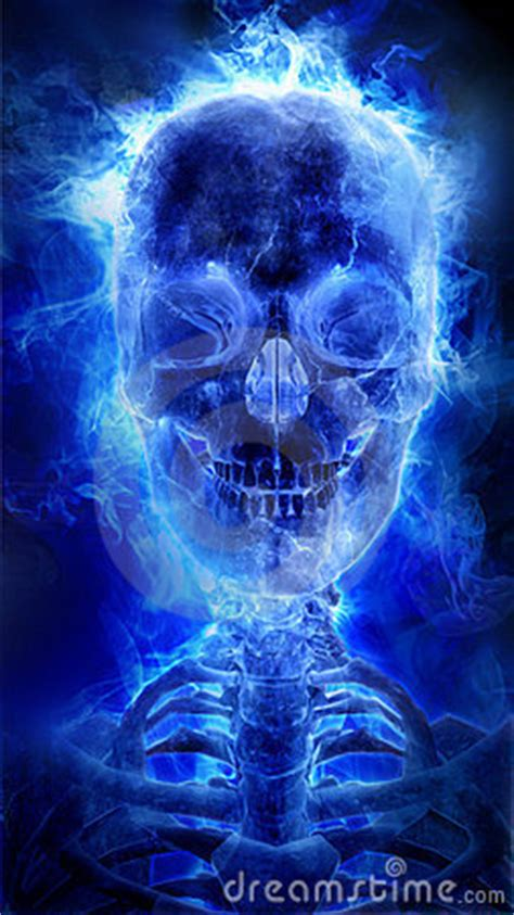 blue flaming skull royalty  stock image image