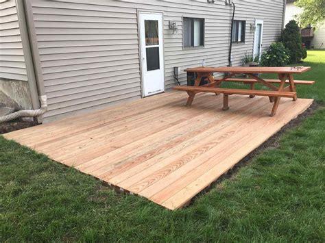 build a patio ground level wood deck ideas arch dsgn