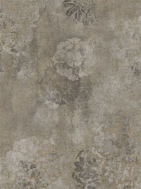 interior place grey faded rustic floral wallpaper