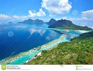 Aerial, View, Of, Tropical, Island, Of, Bohey, Dulang, Near