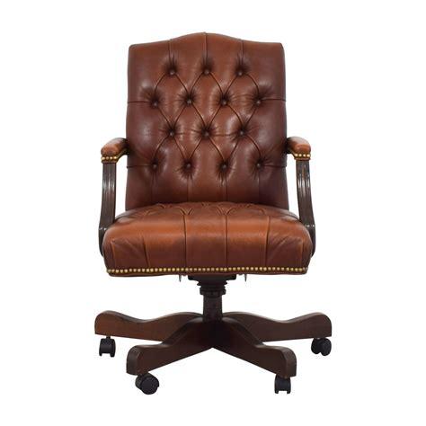 ethan allen ethan allen brown leather desk chair