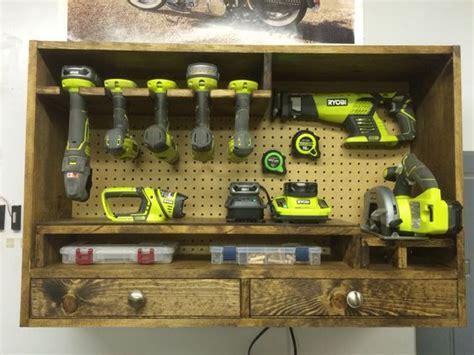 power tool storage ryobi garage workshop pinterest