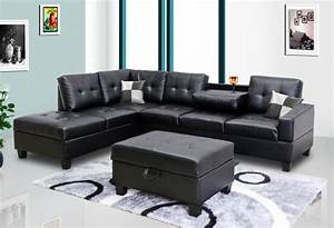 Black faux leather sectional 8077801 black sectional for Small spaces sectional sofa black faux leather