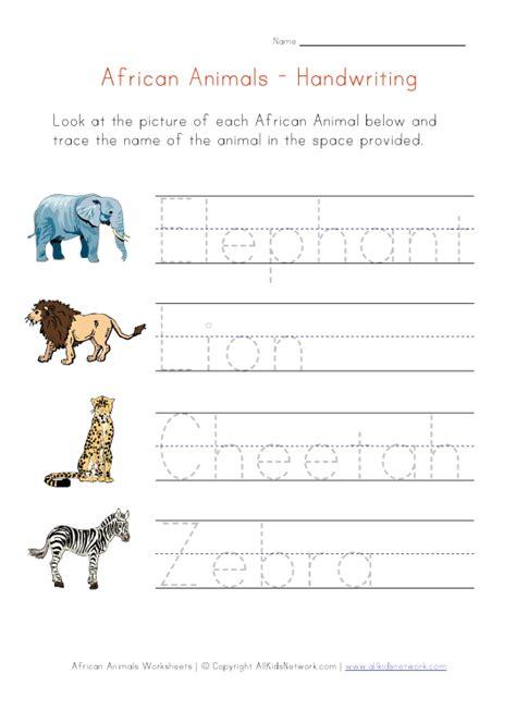 african animals themed handwriting worksheet