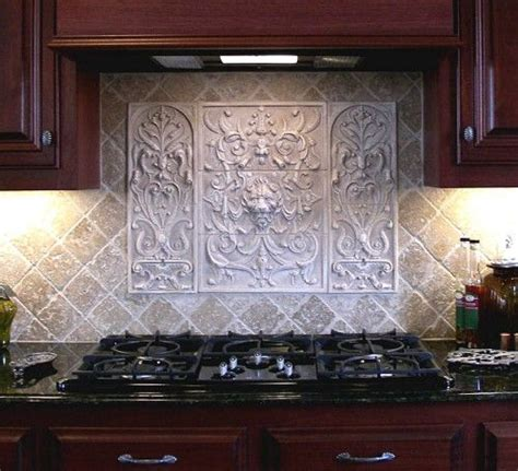 decorative kitchen backsplash tiles decorative tile backsplash over stove custom made lion panel and bouquet tiles decorative