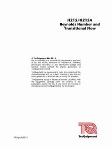 H215 Reynolds Number And Transitional Flow User Guide