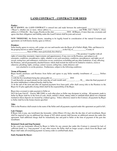 land contract template 5 land contract templatereport template document report template