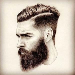 bearded man sketch art artwork drawing arts undercut hair ...