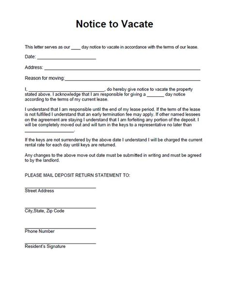 printable sample vacate notice form laywers template