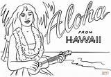 Hawaii Coloring Hawaiian Ukulele Aloha Printable Lei State Drawing Themed Dot Crafts sketch template