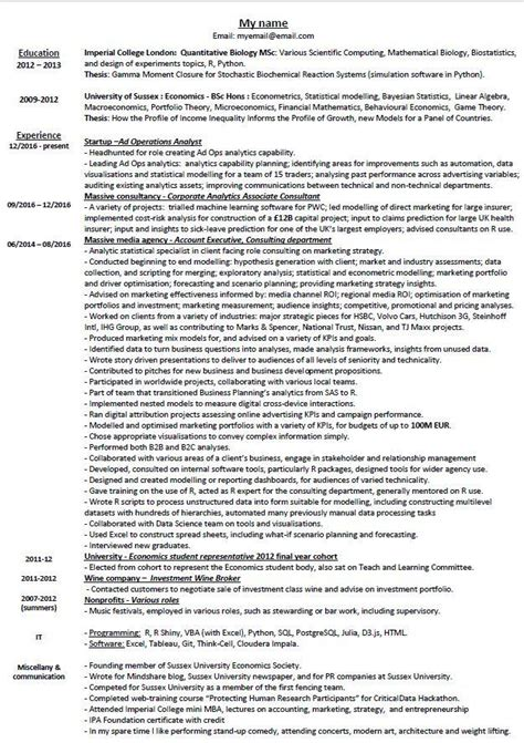 Resume Critique by Resume Critique For A Statistician Somebody Recently