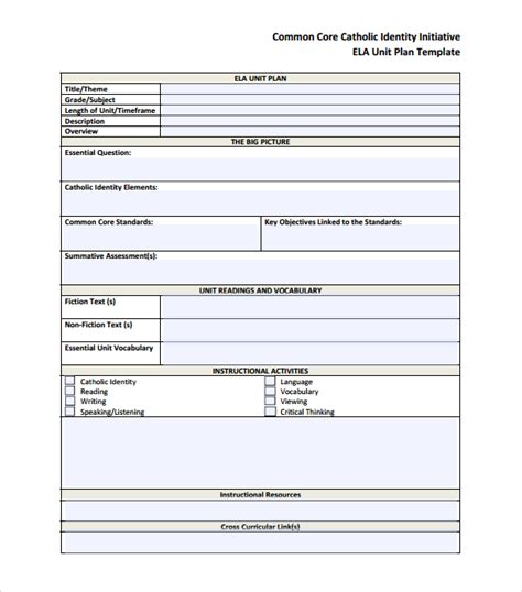 Unit Plan Template 12 Sle Unit Plan Templates To For Free