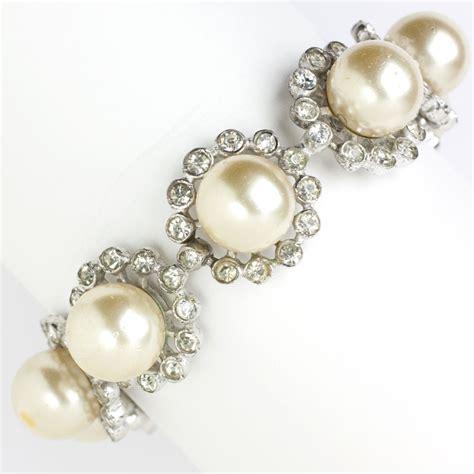 Eisenberg Vintage Jewelry  Pearl & Diamanté 1940s Bracelet