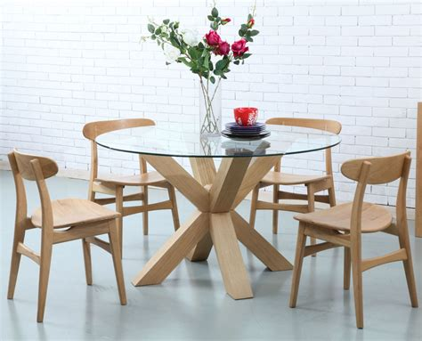 Glass Dining Table by Oscar Dining Table Glass Solid Oak 130cm