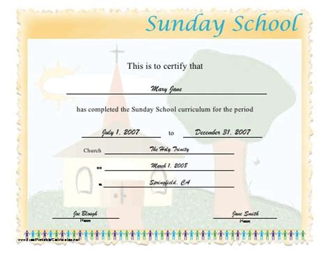 17 Church Certificate Templates Free Printable Sle Designs 17 Best Images About Sunday School Certificates On