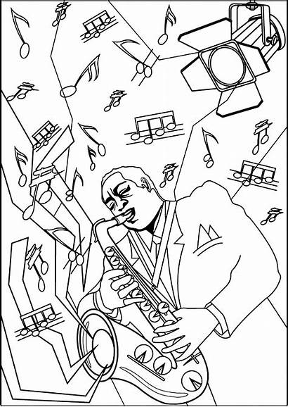 Saxophone Musician Coloring Playing Jazz Pages Zen
