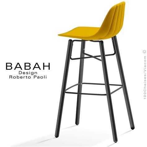 tabouret de bar design babah wood 80 pieds bois peint assise coque plastique dossier fantaisie