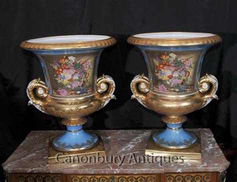 Large Floral Vases by Pair Large Sevres Porcelain Floral Cana Urns Planters Vases