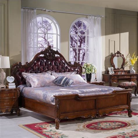modern european solid wood bed fashion carved genuine leather bedroom furniture p10293 in