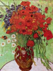 Vase With Poppies Vincent Gogh by Vase With Poppies And Daisies 1890 By Vincent Gogh