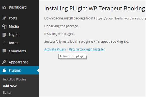 sadan installerer du terapeut bookings wordpress plugin