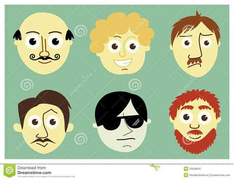 Men's Faces Stock Image