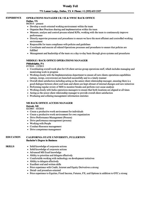 sample resume for office manager position back office manager resume samples velvet jobs