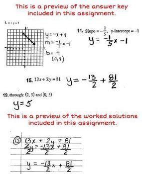 linear equations review worksheet with answer key worked