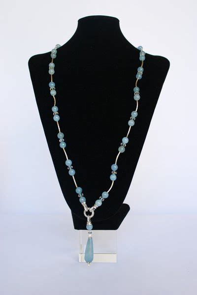 ladari a goccia di cristallo collana di acquamarina e cristallo con pendente a goccia