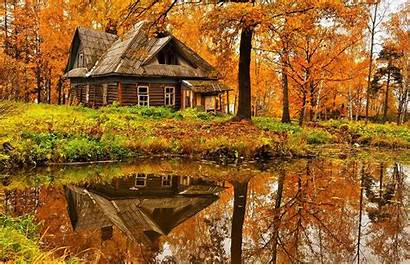 Autumn Cottage Forest Hut Nature Wallpapers Cabin