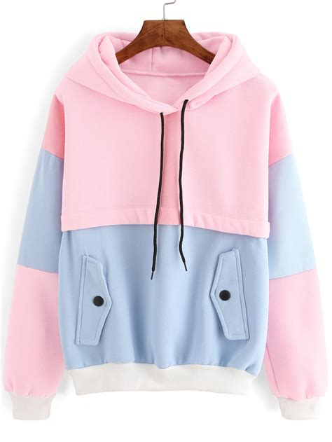 color sweat color block drawstring hooded sweatshirt romwe