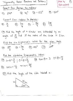 trigonometry review questions and solutions by patrickjmt tpt