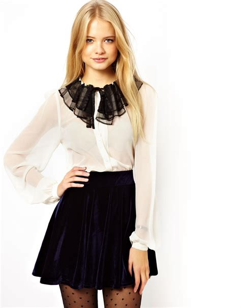collar blouse asos blouse with contrast lace ruffle collar in