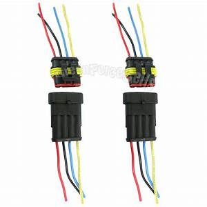 2 Kit 4 Pin 4p Way Waterproof Electrical Car Motorcycle Connector Plug W   Wire