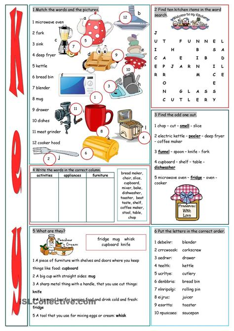 Kitchen Vocabulary by Kitchen Vocabulary Exercises Furniture Appliances