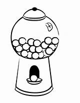 Gumball Machine Gum Coloring Bubble Clipart Drawing Template Cliparts Clip Empty Chewing Bubblegum Sheets Machines Library Popular Coloriage Colouring Getdrawings sketch template