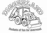 Coloring Digger Diggerland Colouring Sheets Printable Truck sketch template