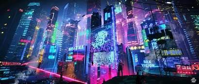 Ultrawide Desktop 3440 Backgrounds Computer Cyberpunk Neon