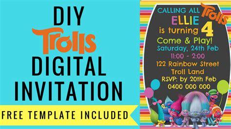 Trolls Invitation Templates Free by Free Trolls Digital Invitation How To Make With